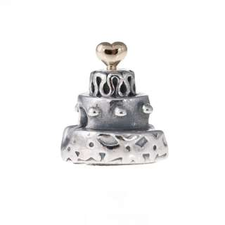 Genuine Pandora Sterling Silver & 14k Gold Celebration Cake Charm