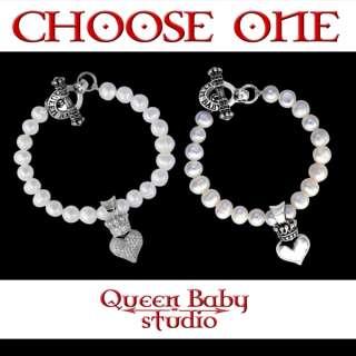 King QUEEN Baby Studio bracelet PEARL CZ Silver heart