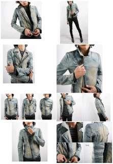 NEW denim rider vintage style motorcycle moto jacket