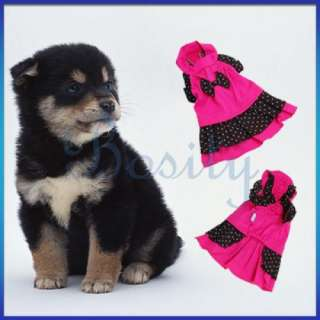 Round Neck Puppy Pet Dog Dress Clothes Apparel Pink S