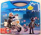 Playmobil Police Motorcycle Robber Box Carry Case 5891