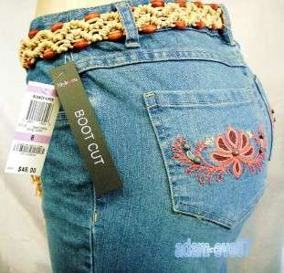 STYLE & CO JEANS BELTED BOOT CUT DENIM PANTS SIZES 4 18