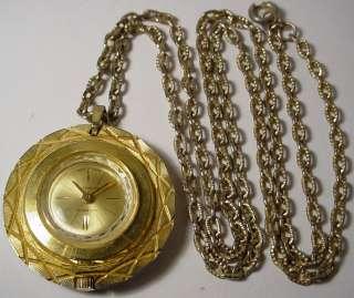 WOMEN LUCERNO SWISS PENDANT NECKLACE GOLD TONE POCKET WATCH