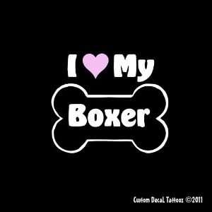 I Love My Boxer Dog Bone Car Window Decal Sticker 5