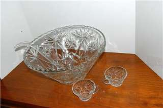 AMERICAN PRESCUT CRYSTAL 26 PIECE PUNCH BOWL SET STAR DAVID