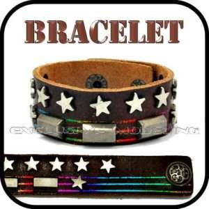 Rainbow Lines Star Stud Genuine Leather Cuff Bracelet