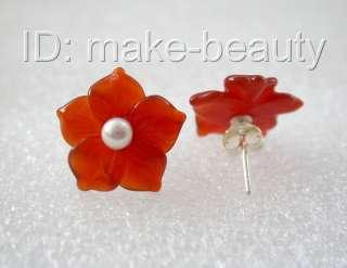 stunning big 15mm red agate flower white pearl earrings