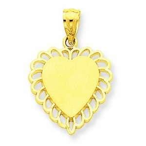 14K Yellow Gold Scalloped Border Heart Charm GEMaffair