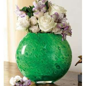 Emerald Swirl Glass Vase