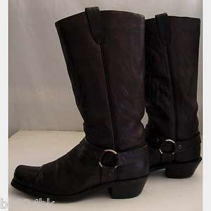 Distressed Leather Harness Motorcycle Biker Riding Boots 8.5 D USA