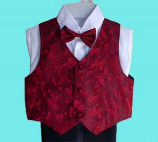 BOYS BLACK TUXEDO w/RED VEST WEDDING RING BOY BEARER 1