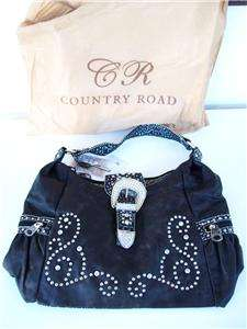 Country Road Rhinestone Embellished Bedazzeled Hobo Handbag Purse