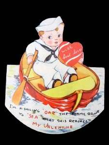 Vintage Sailor Boy in Row Boat Oar Valentine Card Stand Up Rocking