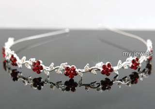 Bridal Flower Ruby Red Crystal Headband Tiara T1285