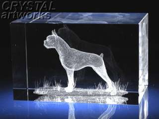 BOXER DOG (mixed ears)* 3D Laser Etched Crystal Figurine A1134s