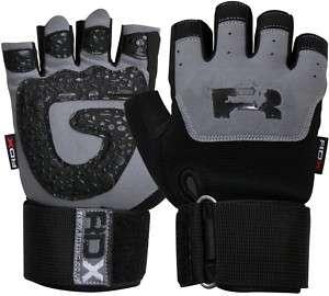 RDX Gel Weight lifting Training Gloves Gym Straps Bar L