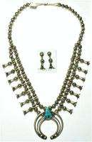 Navajo Old Style Turquoise Squash Blossom Necklace Set