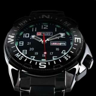 Sport Date Mens Black Dial Stainless Steel Strap Wrist Watch