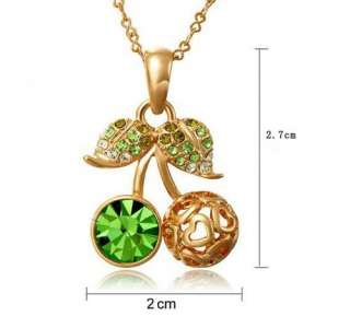 Trendy Korean Super Lovely Leaf Crystal Cherry Pendant Short Necklace