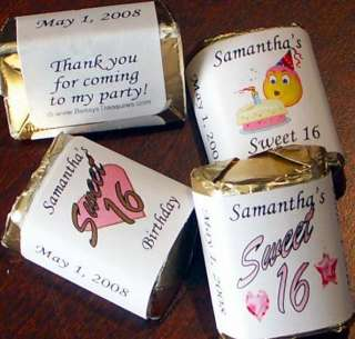 60 SWEET 16 Nugget Candy Wrappers Birthday Party Favors