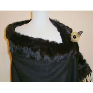 Jet Black Baby Alpaca Cashmere Blend Shawl With Black Real Fox Fur (S