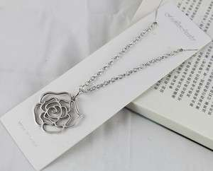 pcs Tibetan silver Rose Flower Pendant Necklaces