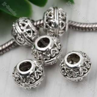 20x Tibetan Silver Carved Heart European Bead Fit Charm