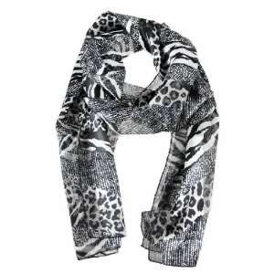Beautiful Black / White / Gray Animal Print Neck Scarf