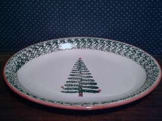 Furio Ceramic 16 Oval Holiday Christmas Tree Platter Italy