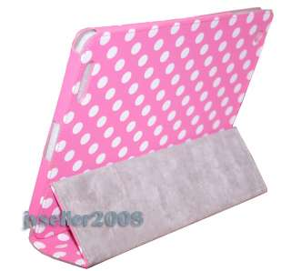 White Polka Dot Leather Case Cover W/Stand For iPad 2 Hot Pink