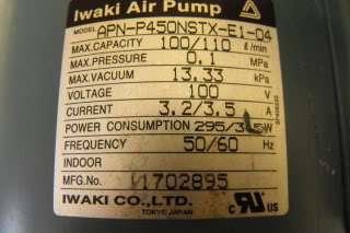 Iwaki Air (Vacuum) Pump Model# APN P450NSTX E1 04