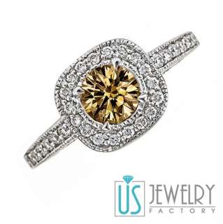 10ct Natural Fancy Light Brown Round Diamond Vintage Engagement Ring