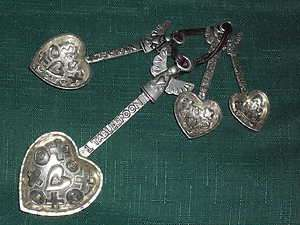 & HEARTS metal LOVE MEASURING SPOONS and a pinch of love