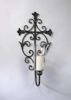 Old World Iron Scroll Cross Wall Candleholder Sconce