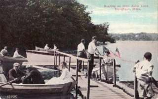 Boating on Glen Echo Lake, STOUGHTON, MA Postcard