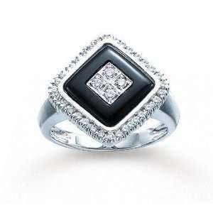 14k White Gold Onyx Round Prong 0.30 Carat Diamond Ring: Jewelry
