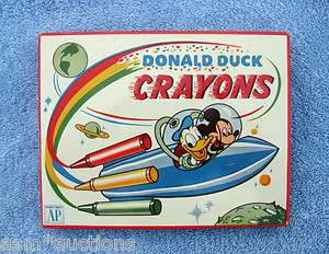 DONALD DUCK & MICKEY MOUSE CRAYONS TIN Rocket Ship Near Mint