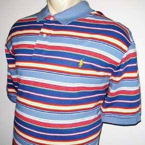 RALPH LAUREN MENS POLO SHIRT Blue Orange White Striped XXXL 3X 3XL BIG