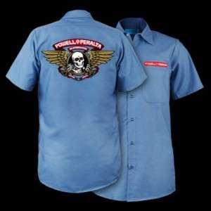 Powell Peralta Winged Ripper Postal Blue Work Shirt Medium
