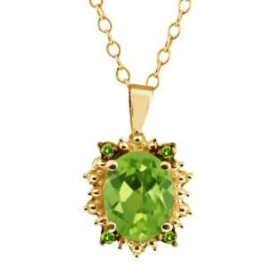1.38 Ct Oval Green Peridot Gemstone Gold Plated Sterling