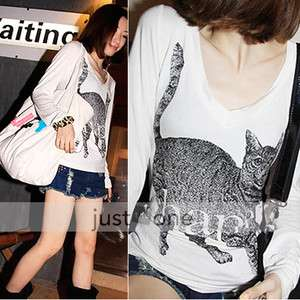 Fashion Lovely Casual Cat pattern Women Lady Girl Long Sleeve Cat V