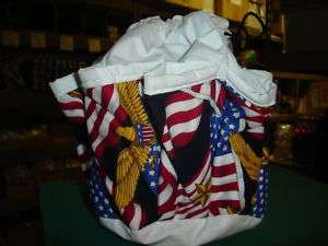 BINGO BAG SALE WITH FLAG/GOLD EAGLE DESIGN WHITE