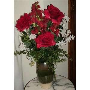 Red Wine Silk Rose Floral Arrangement Home & Kitchen