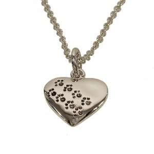 Animal Lovers With Embossed Dog Paw Prints and 16 Inch Chain with