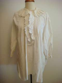 WHITE LONG SHIRT WITH LACE SIDE SLITS MADE OF COTTON VINTAGE 70S