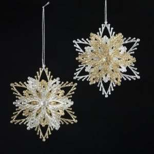 Club Pack of 24 Silver and Gold Glittering Burst Christmas Ornaments 4
