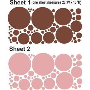 Chocolate brown and Soft Pink polka dots (108pcs) wall