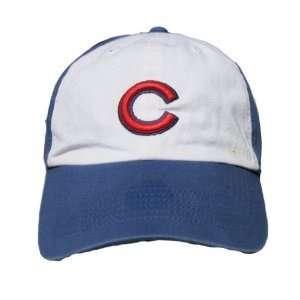 MLB Chicago Cubs Cotton Low Profile Hat Cap   White / Blue (Size Med