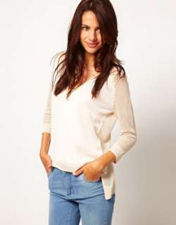 Warehouse  Suéter con escote en V y mangas de malla de Warehouse en