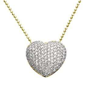 Yellow Gold, Pave Diamond Heart Pendant with Chain (0.75 ctw) Jewelry